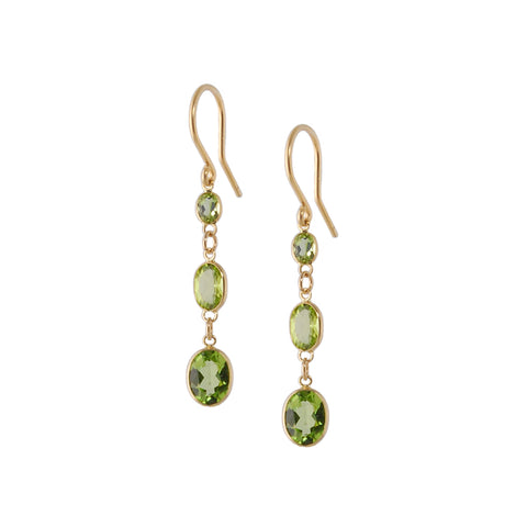 Three Stone Bezel Set Peridot Earrings