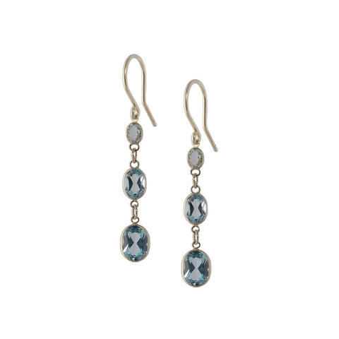 Three Stone Bezel Set Blue Topaz Earrings
