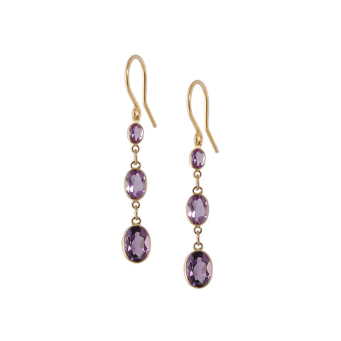 Three Stone Bezel Set Amethyst Earrings
