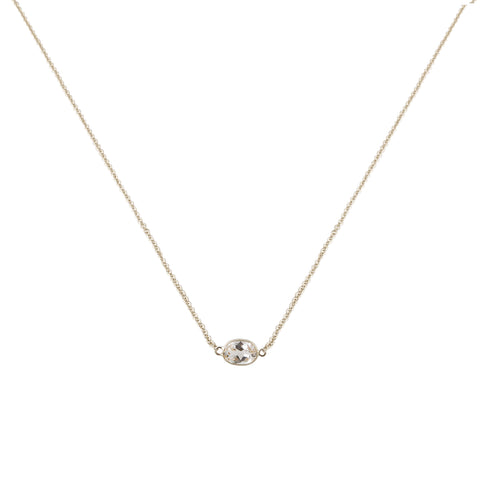 SINGLE STONE BEZEL SET WHITE TOPAZ NECKLACE