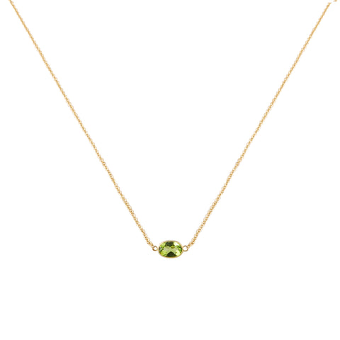 SINGLE STONE BEZEL SET PERIDOT NECKLACE