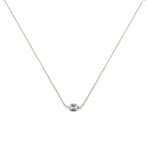 SINGLE STONE BEZEL SET BLUE TOPAZ NECKLACE
