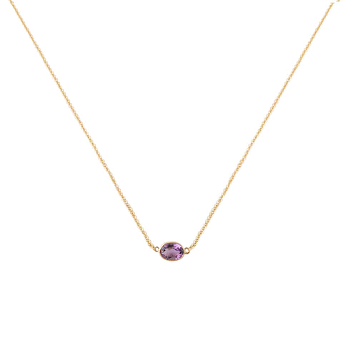SINGLE STONE BEZEL SET AMETHYST NECKLACE