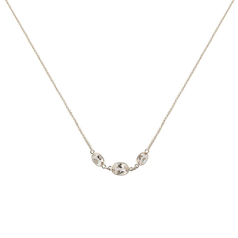 THREE STONE BEZEL SET WHITE TOPAZ NECKLACE