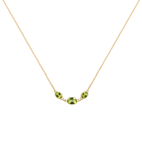 Three Stone Bezel Set Peridot Necklace