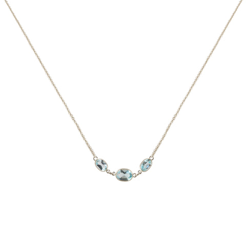 THREE STONE BEZEL SET BLUE TOPAZ NECKLACE