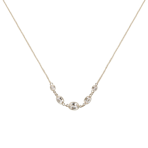 FIVE STONE BEZEL SET WHITE TOPAZ NECKLACE