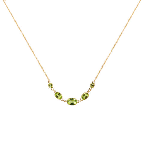 FIVE STONE BEZEL SET PERIDOT NECKLACE