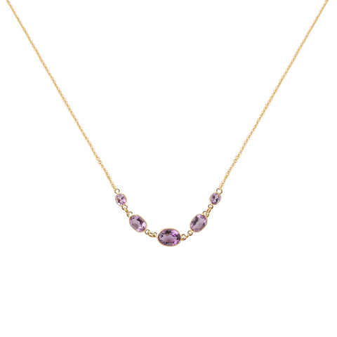 FIVE STONE BEZEL SET AMETHYST NECKLACE