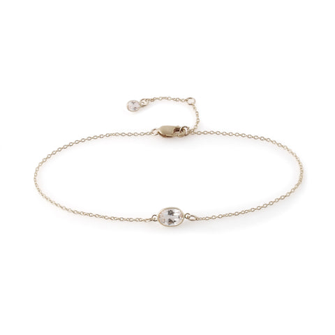 Single Stone Bezel Set White Topaz Bracelet