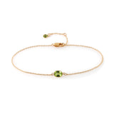 Single Stone Bezel Set Peridot Bracelet