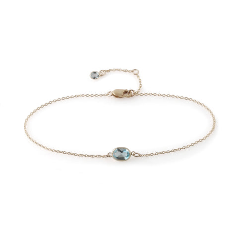 Single Stone Bezel Set Blue Topaz Bracelet