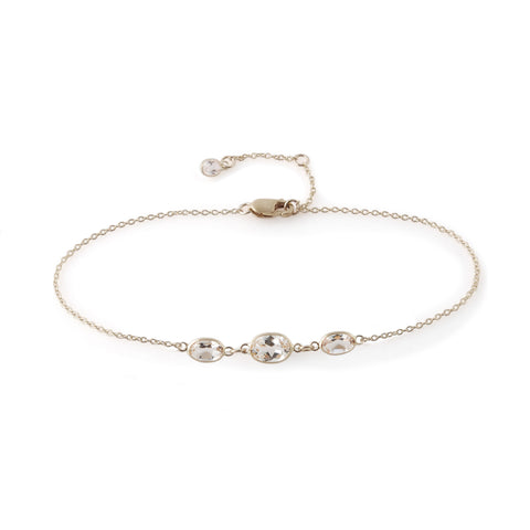 THREE STONE BEZEL SET WHITE TOPAZ BRACELET