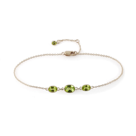 THREE STONE BEZEL SET PERIDOT BRACELET
