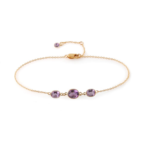 THREE STONE BEZEL SET AMETHYST BRACELET
