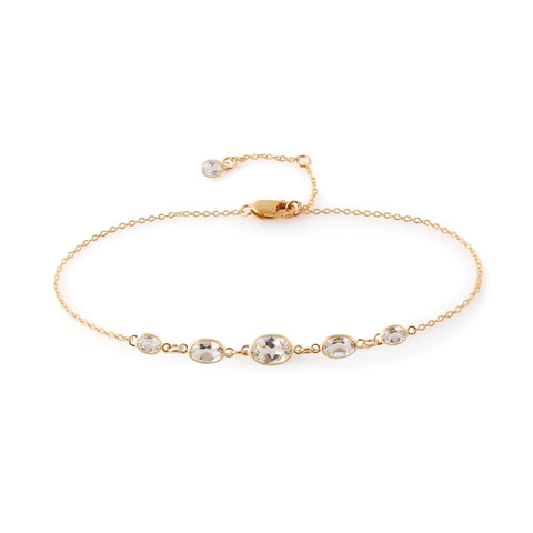 Five Stone Bezel Set White Topaz Bracelet