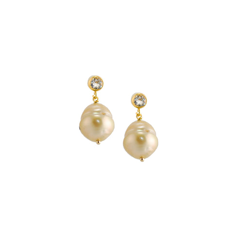 Saltwater Pearl and White Topaz Earrings
