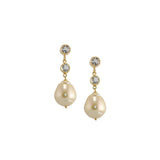 Saltwater Pearl Post Earrings with Two White Topaz