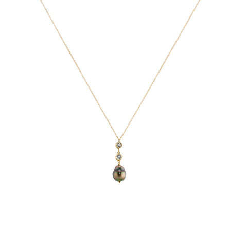 Saltwater Pearl Drop Necklace with Two White Topaz