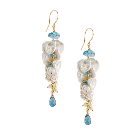 Keishi Pearl Earrings with Topaz