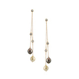 Double Strand Saltwater Pearl and White Topaz Long Earring