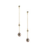 Single Strand Saltwater Pearl and White Topaz Long Earring