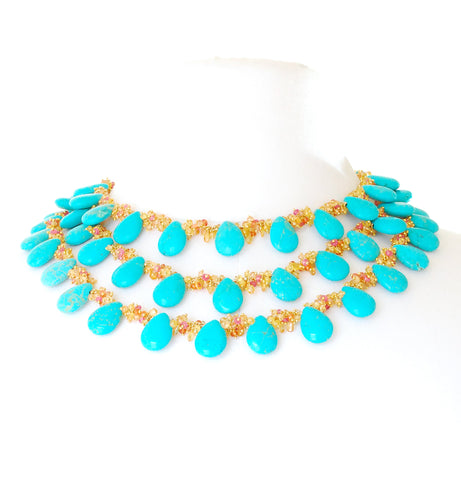 TURQUOISE NECKLACE WITH SAPPHIRES