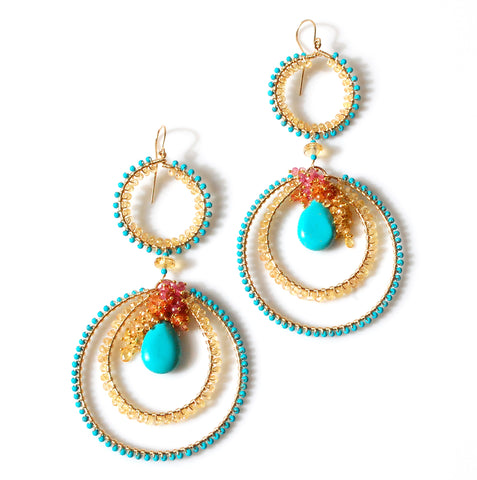 Turquoise Earrings with Sapphires