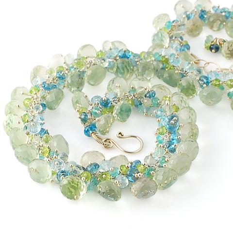 GREEN AMETHYST, BLUE TOPAZ, PERIDOT AND APATITE NECKLACE