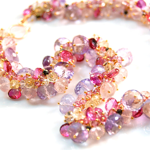 Custom-McKee4 - Pink Quartz, Sapphire, Tourmaline, Topaz and Pyrite Necklace
