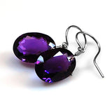 AMETHYST OVAL CUT SOLITAIRE EARRINGS