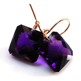 Amethyst Radiant Cut Solitaire Earrings