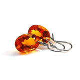 CITRINE OVAL CUT SOLITAIRE EARRINGS