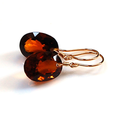 COGNAC OVAL CUT SOLITAIRE EARRINGS