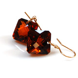 HONEY QUARTZ RADIANT CUT SOLITAIRE EARRINGS