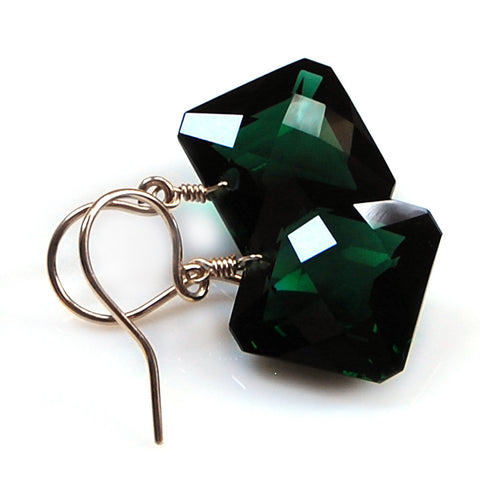 DARK GREEN AMETHYST RADIANT CUT OVAL EARRINGS