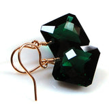 Dark Green Amethyst Radiant Cut Solitaire Earrings