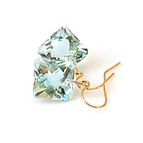 LIGHT GREEN AMETHYST RADIANT CUT SOLITAIRE EARRINGS