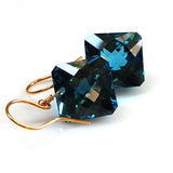 yellow gold radiant cut london blue topaz earrings