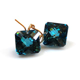 square cut london blue topaz earrings