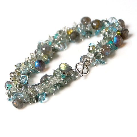 Moss Aquamarine, Blue Topaz and Labradorite Bracelet