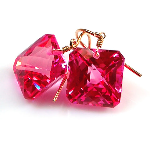Pink Topaz Radiant Cut Solitaire Earrings