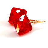RED TOPAZ RADIANT CUT SOLITAIRE EARRINGS