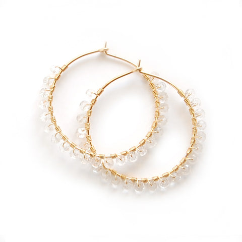WHITE TOPAZ HOOP EARRINGS