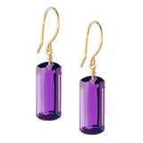 Amethyst Baguette Cut Solitaire Earrings