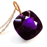 Amethyst  Cushion Cut Solitaire Necklace