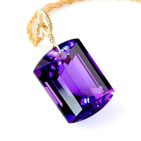 Amethyst Emerald Cut Solitaire Necklace