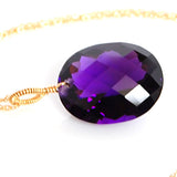 Amethyst Oval Cut Solitaire Necklace