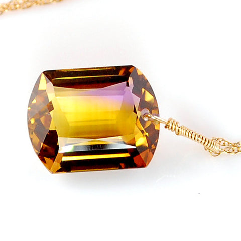 AMETRINE EMERALD CUT SOLITAIRE NECKLACE