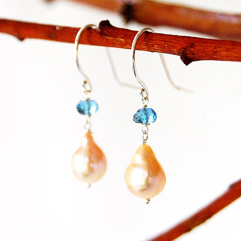 Baroque Teardrop Pearl and London Blue Topaz Earrings